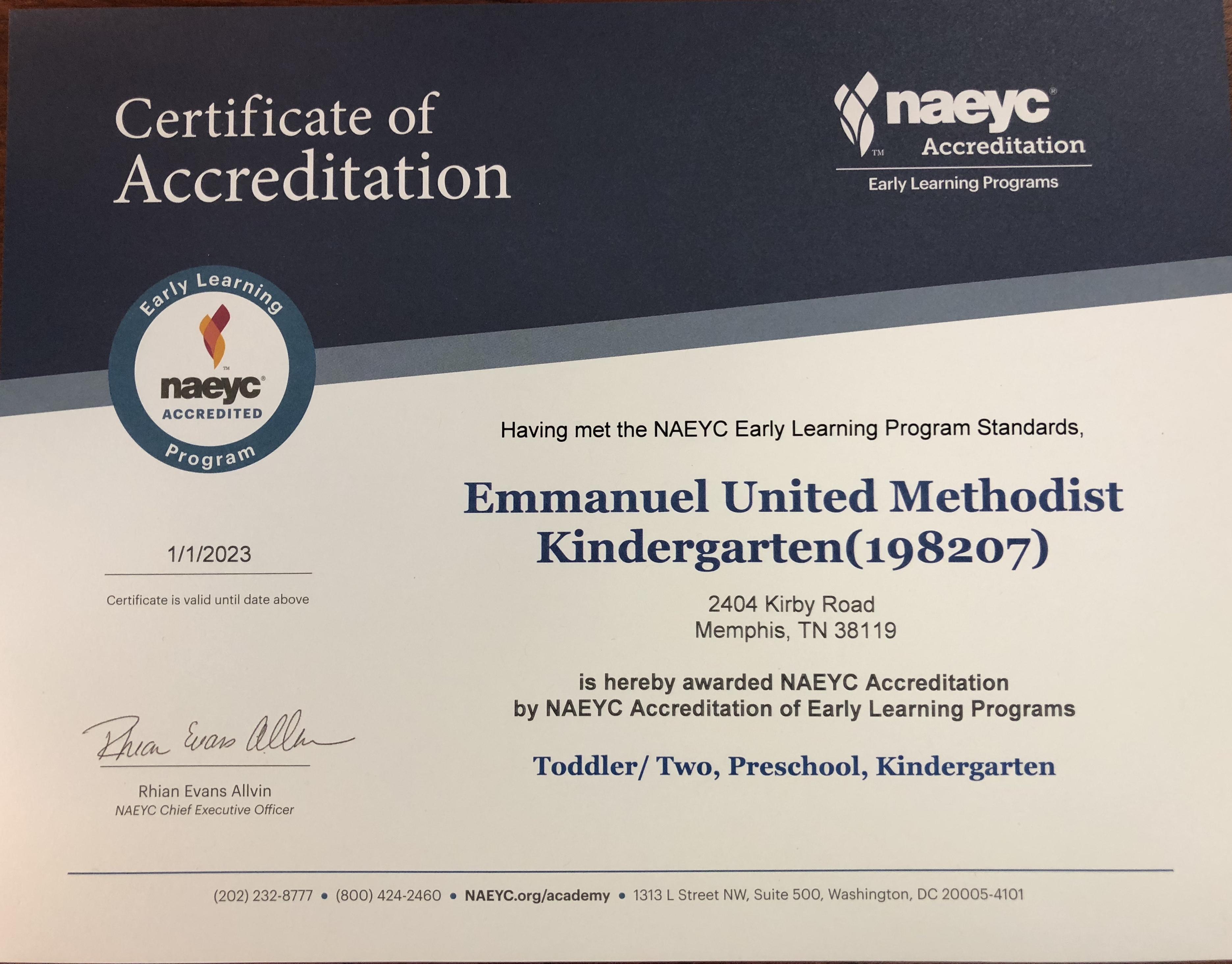 Eumk Earns Naeyc Accreditation Again Emmanuel United